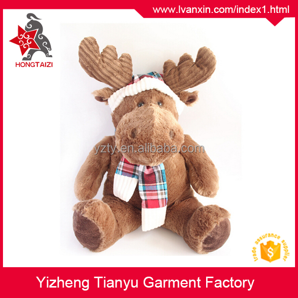 Plush brown sitting stuffed reindeer toys for christmas