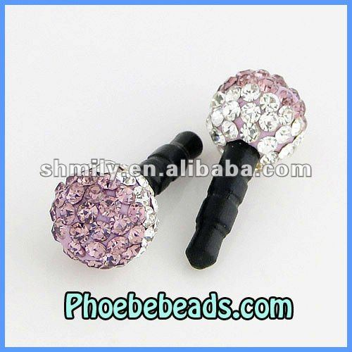 Wholesale Lavender &White Two Tone Crystal Ball Earphone Dust Cap Plug Dustproof Jack For Iphone Mobile Phone MDP-P1005