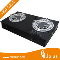 JP-GC210 Good Quality Tempered Glass Tabletop Double Infrared Burner Natural Gas Stove