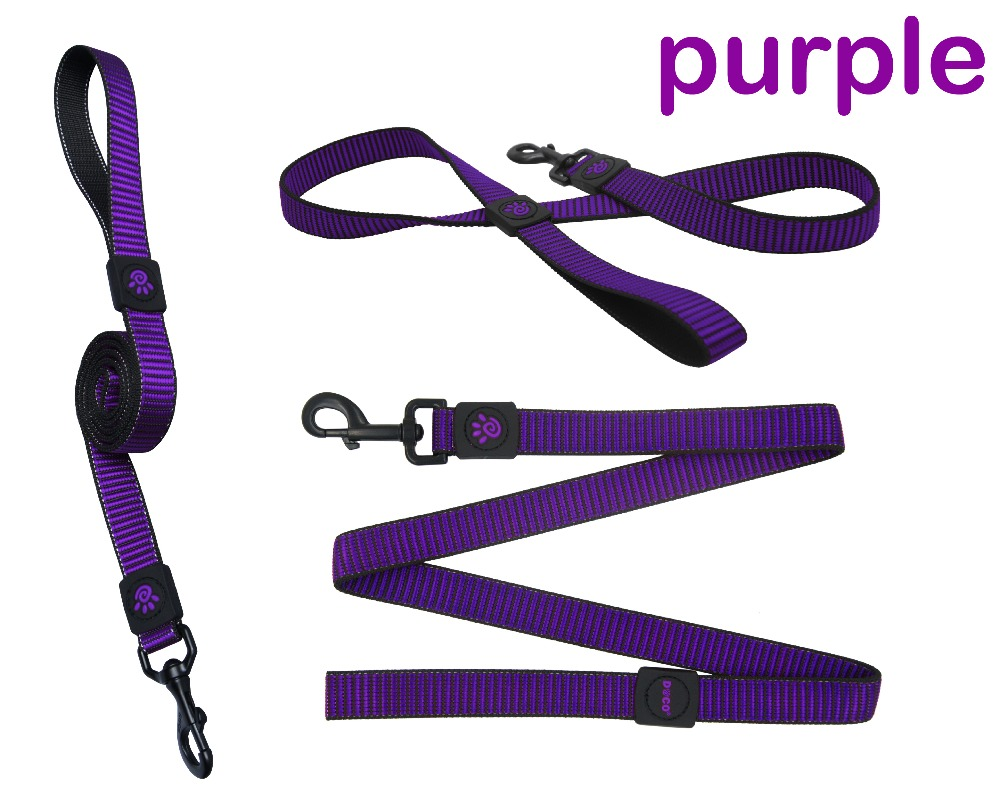 Wholesale Heavy duty Snap High Quality Nylon retractable dog training leash Small Purple