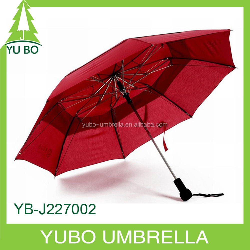 double layers full-automatic 2 fold umbrella with air vent, auto open and auto close two fold umbrella