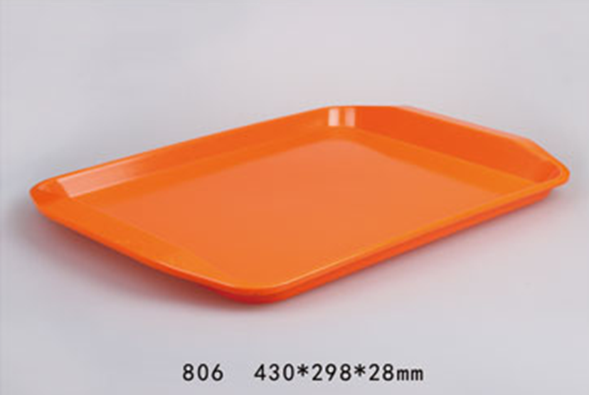 Red melamine tray design with handles can customized design and color