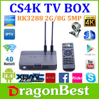 Quad core TV box! CS4K 8GB Nand Flash multi Video decoding Support 500W pixel camera