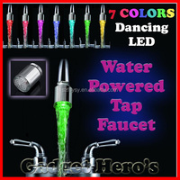 2016 Most Fantastic 7 Colors Dancing LED Light Water Powered Tap Faucet Pats
