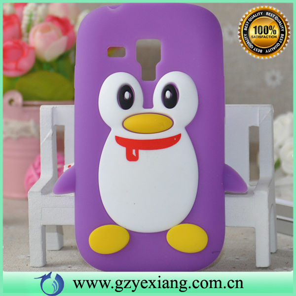 3D cute animal penguin soft silicon protective back case for Samsung galaxy s3 mini