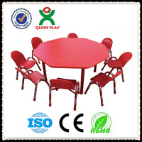Hot sale antique plastic childrens table and chairs/ 8 people seats QX-195E