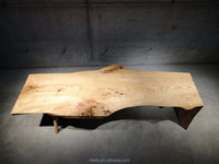 industrial furniture ash wood slab table with light natural color and live edge table