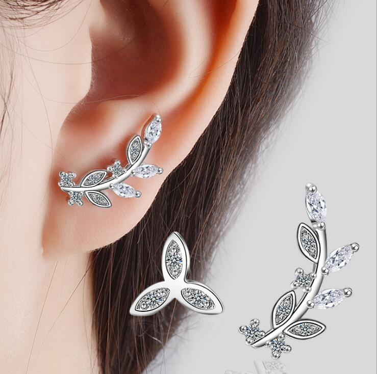 New 2017 latest design earring designs, Fashion silver 925 jewelry earrings, Korean elegant flower ear stud hanging earrings
