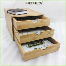 Bamboo portable desk organizer/wood desk file organizer/with Three Storage Drawer/Homex-factory-BSCI