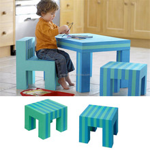 2015 hot sale colorful kids furniture study table and chairs, children dining and playing desk and stools for sale