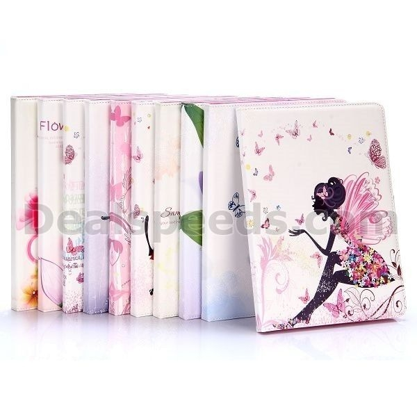 Flowers Pattern Diamond Studded Magnetic Buckle TPU+ PU Leather Cases for iPad Air2