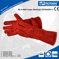 RS SAFETY cotton fully lined to cuff reinforced strip cow split red leather gloves men