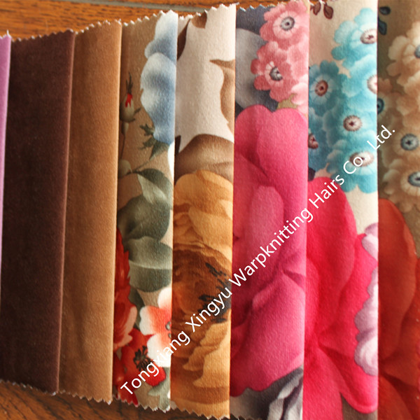 100% polyester super soft velvet fabric with paper printing bonding TC for sofa
