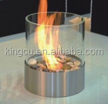 Table top round glass tube ethanol fireplace vent free fireplace insert