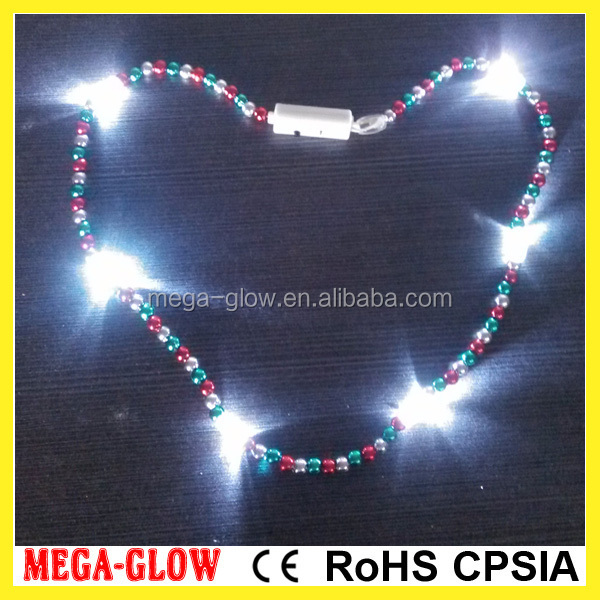 Promotional Mardi gras bead LED Flashing Necklace flashing party necklace, promotional LED necklace