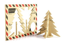 Green Wooden Diy Handmade Wooden Brief Three-Dimensional Christmas Tree Greeting Card New Year Gift New Arrival
