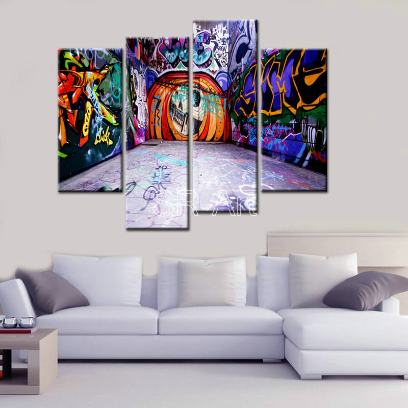 4Pcs Modern Canvas Print Painting Large Colorful Street Graffiti Wall Art Artwork Creative Wall-to-wall Picture for Living Room