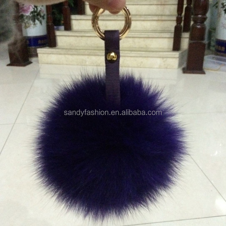 Fluffy 13cm Colorful Dyed Real Blue Fox Fur Ball Keychain