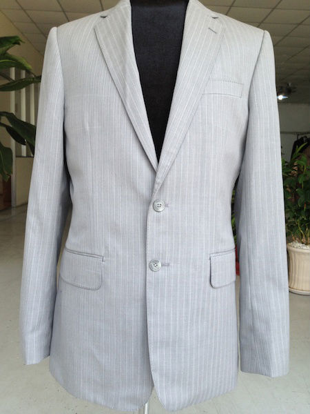 Tailor made grey stripes men suit