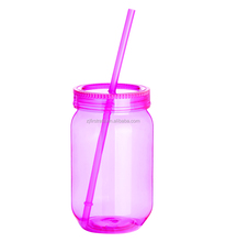 500ML Plastic drinking bottle shaker with straw