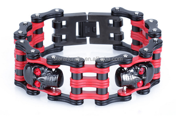 Red & Black Color 316L Stainless Steel Men's Biker Skull Bracelet Motorcycle Biker Jewelry