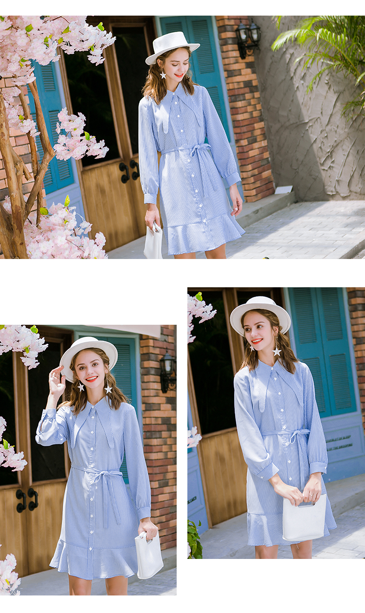 (18QL9101) new design sammy dress women chiffon blue striped dress clothing fashion girl dresses for spring