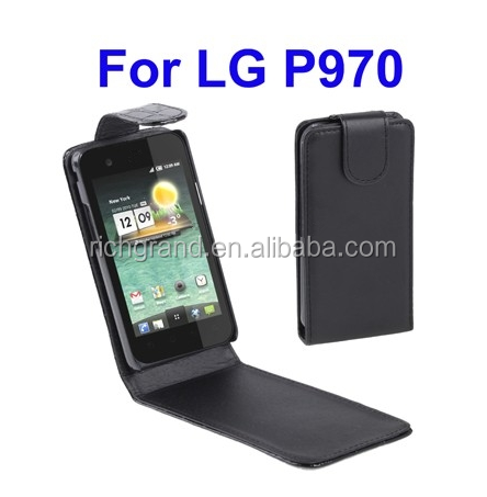 High Quality Pure Color Vertical Flip Leather pouch Case for LG Optimus P970