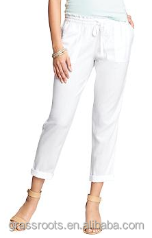 Top quality hot sale Women's Linen-Blend Cropped Pants women