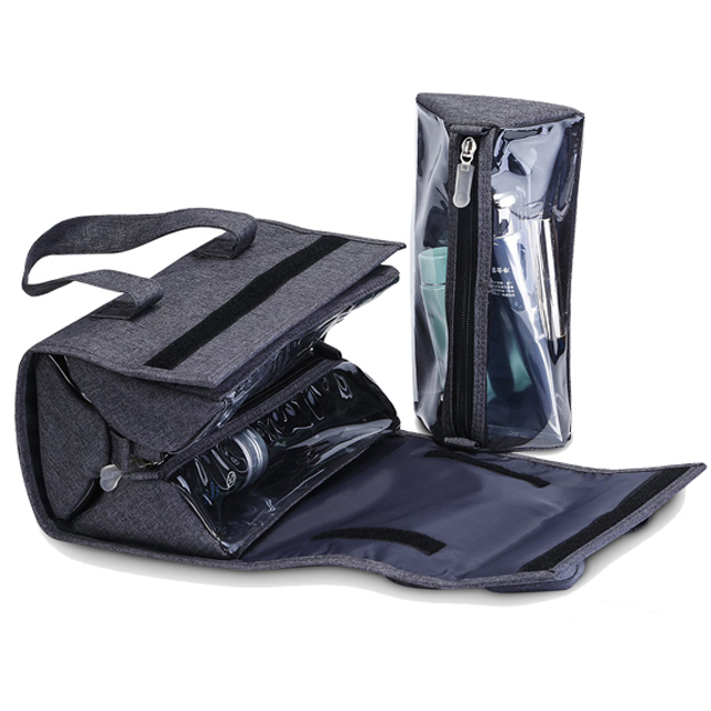 Foldable men's cosmetic organizer bag hanging toiletry bag for travelling