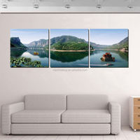 2015 New Free shipping Wall Art Picture Kit 3Piece pastoral scenery scenic boat modern home decoration pictures Canvas painting