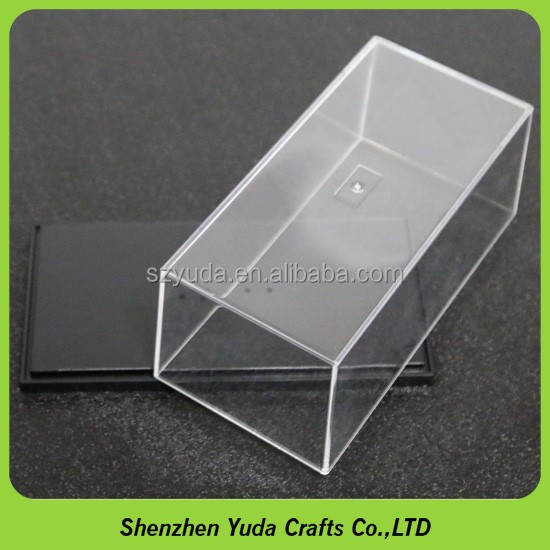 Transparent lift-off top cheap diecast car display case with checkered bottom