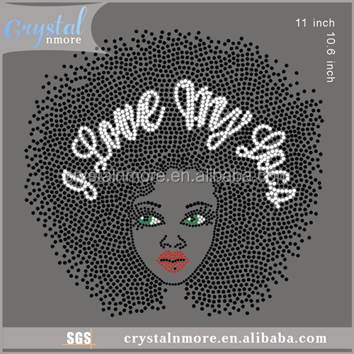 Love My Loca Iron On Afro Girl Rhinestone Transfer Designs