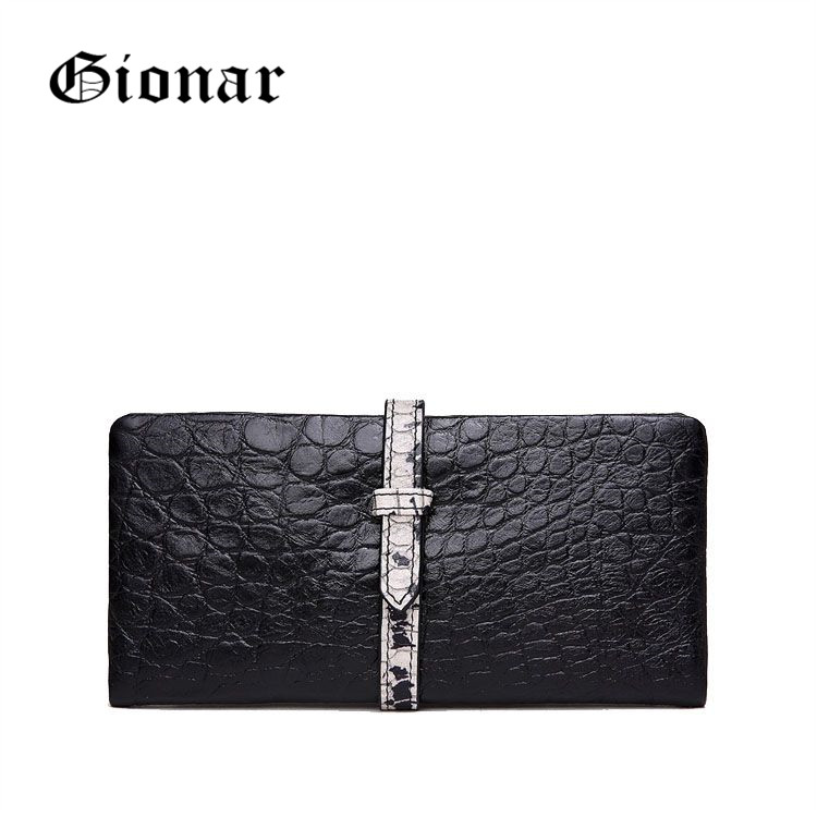 High Quality Large Long Black Cell Phone Business Ladies Cow Leather Crocodile Wallets