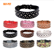 Yiwu pet products wide dog collar studs fashion punk style dog collar