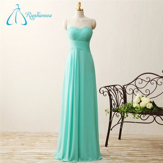 Long Chiffon Floor-Length Blue Wrap Wedding Bridesmaid Dress