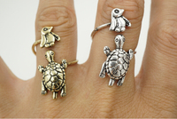 2016 Antique Bronze and Silver Penguin Turtle Animal Wrap Ring Vintage Adjustable Rings for Women