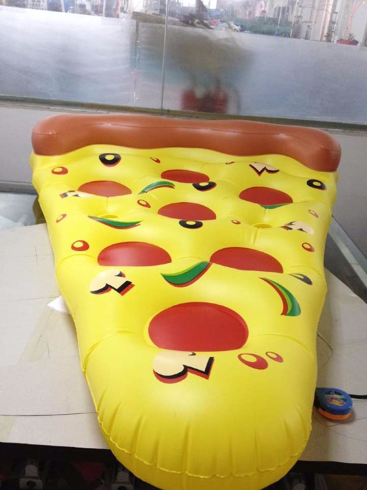 high strenght plastic inflatable pizza float raft folding inflatable water air bed portable