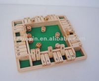 mini four sides shut the box, wooden number counting games with wooden dices