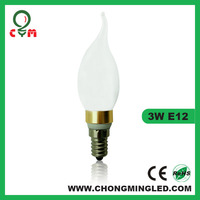 E12 bent tip 3 watt and 4 watt bulbs