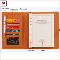 A5 loose leaf notepad pen holder card pocket diary document pocket agenda leather PU hard cover journal a5 organizer notebook