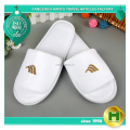 Polyester Velvet Pile Hotel Slippers / Custom Velour Pile Open Toe Travelling Slippers / Durable Disposable EVA Home Slippers