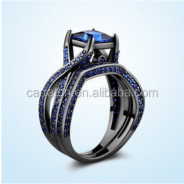 Shiny Black Sterling Silver Princess-Cut Created Blue Sapphire Solitaire Wedding Engagement Ring Set