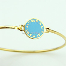enamel custom logo round disc charm bangle gold tube bangle personalized bangle