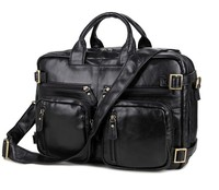 7026A JMD Black Fashion Mens Leather Laptop Briefcases