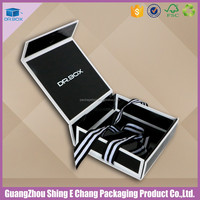 Grey board, Art paper material black luxury clothing packaging/bundle clothing box with ribbon printing for clothing