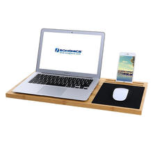 Bamboo Lap Desk Board Multi Tasking Laptop Tablet Cellphone Stand Holder with Built-in Mouse Pad