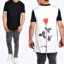 longline sublimation rose printed back cheap t shirts