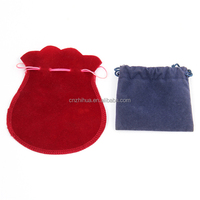 ZHIHUA brand blue red or custom color drawstring printed bag Jewelry gifts velvet pouch