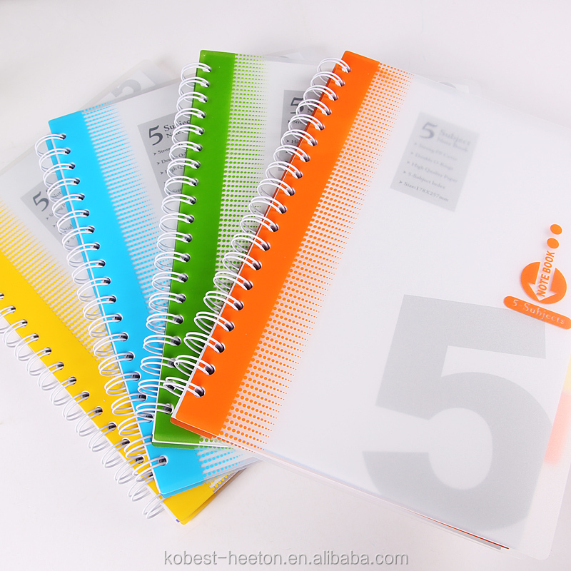custom school a4 a5 all sizes plastic cover double spiral note book