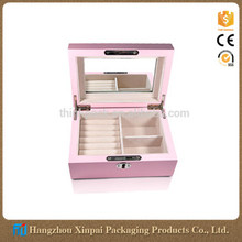 Mirrored piano finish wooden jewelry box with key lock